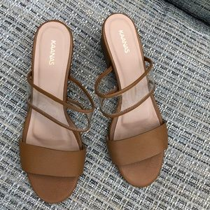 Kaanas Dbl Band Honey Brown Leather Slides, sz 8